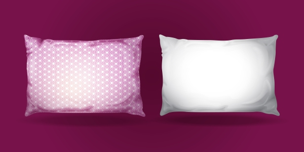 Vector 3d realistic pillow mockup set.