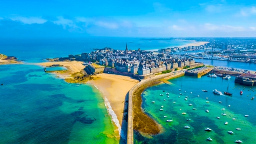Aerial view of the beautiful city of Privateers - Saint Malo in