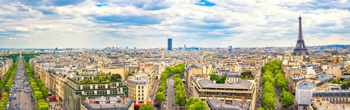 Paris, France. Panoramic view from Arc de Triomphe. Eiffel Tower